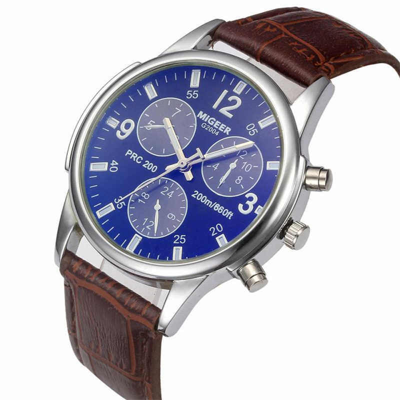 MIGEER Retro Business Men's Watches Three Eyes Leather Band Watches Analog Alloy Quartz Wristwatches relogio masculino 33