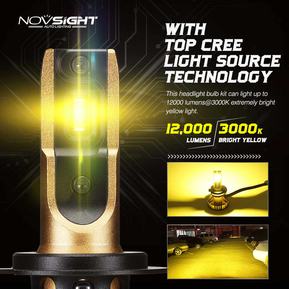 NOVSIGHT 3000K H4 LED H7 H11 H8 HB4 H1 H3 HB3 H13 HB5 Auto Car Headlight Bulbs 72W 12000LM Car Styling led automotivo