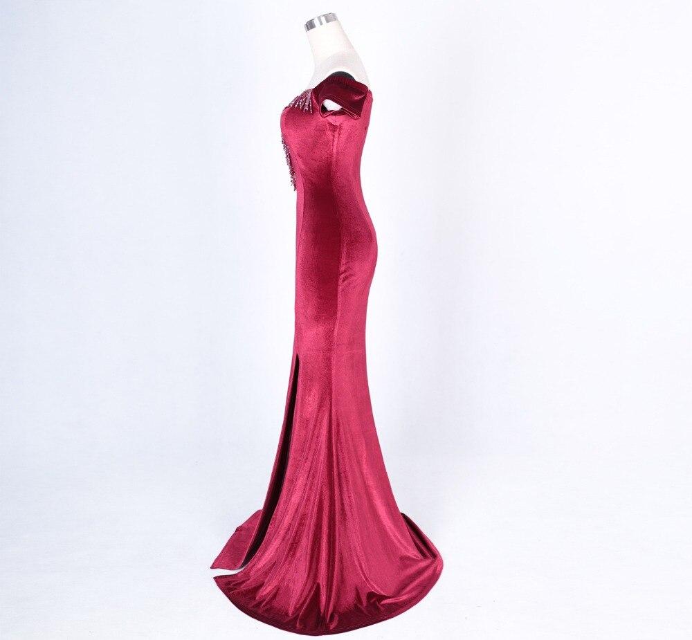 Women Elegant Sexy Appliques Velvet Wine Red Off Shoulder V-Neck Long Mermaid Slim Slit Club Party Dress Vestidos (31)