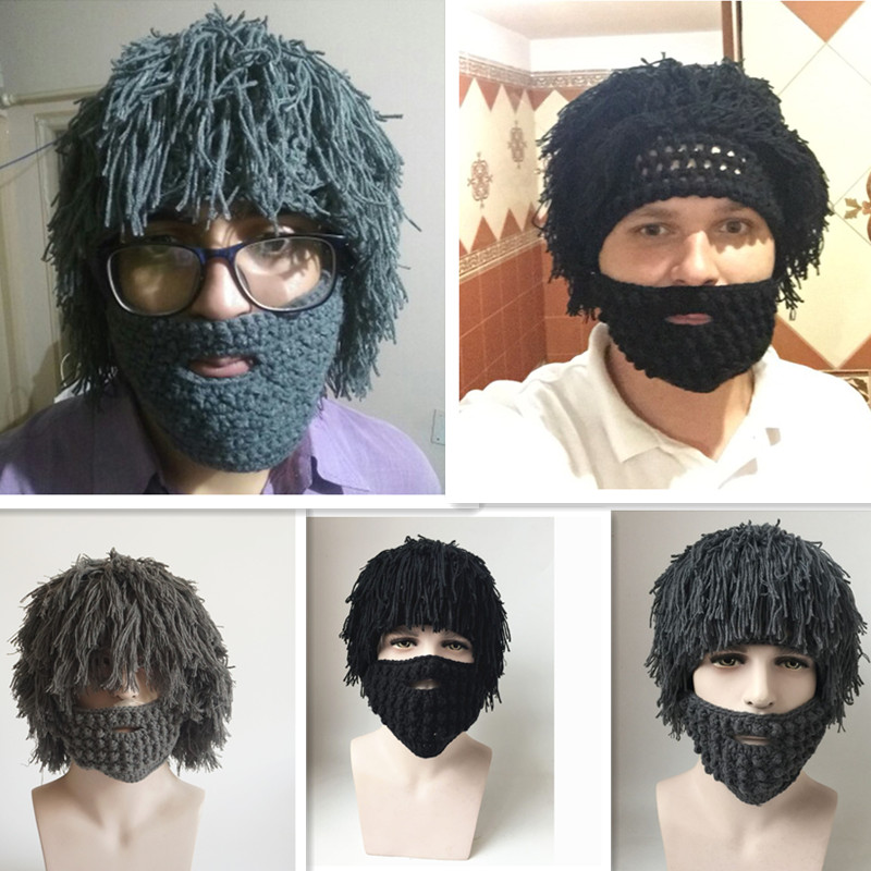 Wig beard hat for men Knitted beanies with windproof mask male Funny cap hats autumn winter warm ski caps Caveman Hobo style