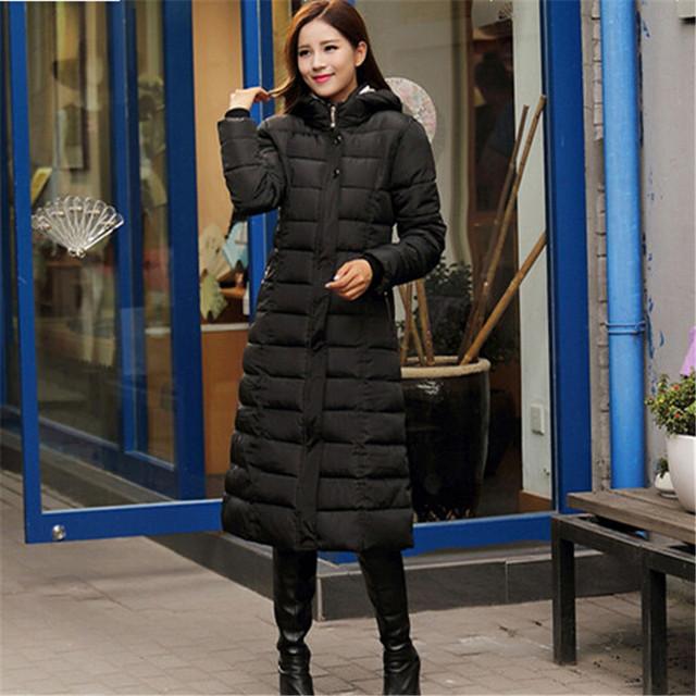 Para mujer chaquetas de invierno y abrigos sobre la rodilla mujeres ropa de Down algodón de invierno cálido chaqueta delgada Parkas con capucha femenina capa C1386