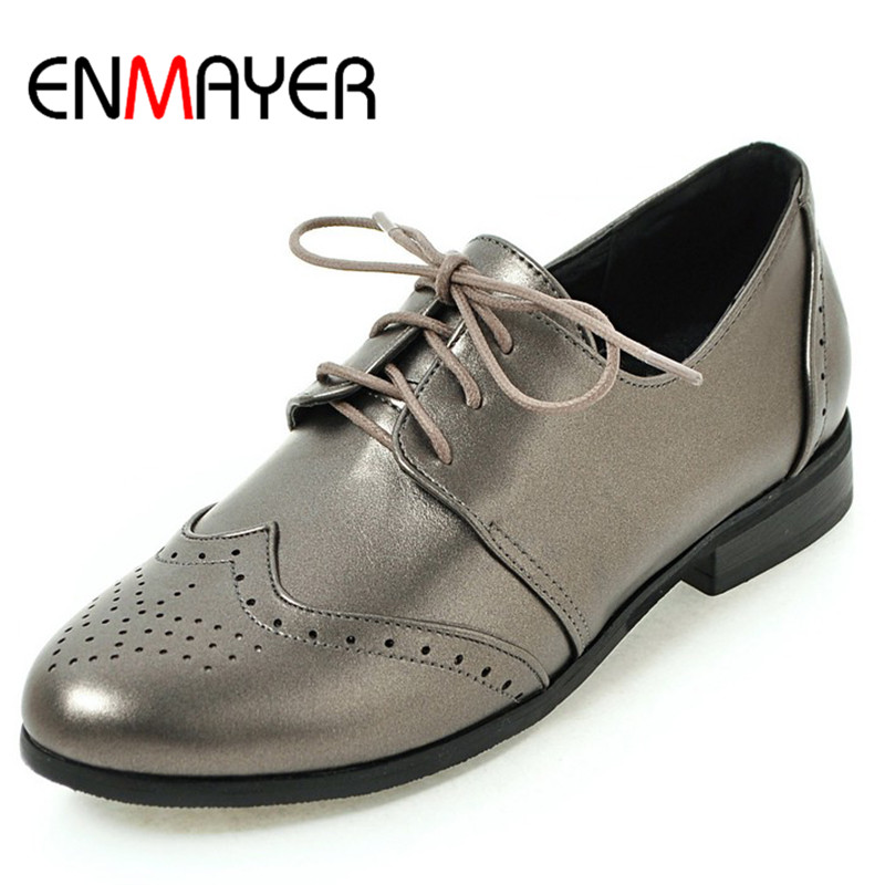 ENMAYER Lace-up Shoes in Womens Plus Size 34-50 Sallow Flats Round Toe Spring&Autumn Classic Black Brogue Shoes Platform Shoes plus size 34 41 black khaki lace bow flats shoes for womens ds219 fashion round toe bowtie sweet spring summer fall flats shoes