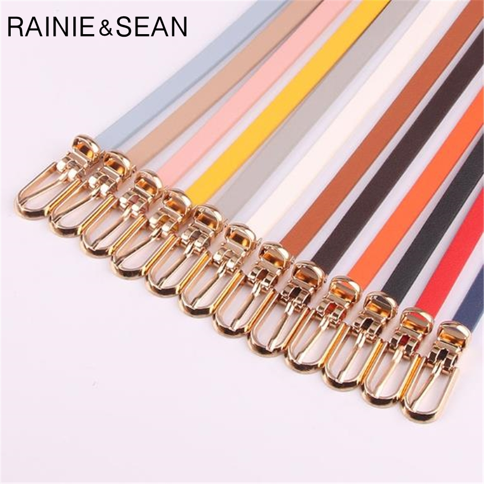 RAINIE SEAN Leather Dress Belt Woman Belts For Dress Candy Color Yellow Red Pink Brown PU Waist Thin Women's Belt Narrow Strap