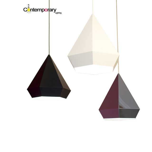 Black Gold Chrome Diamond Pyramid Hexagon Shaped Pendant Lamp For Dining Room Restaurant Bedroom Geometric Living