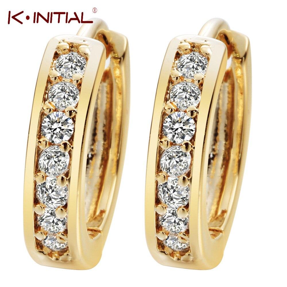 Kinitial 1pair Small Hoop Earrings 24k Gold Cubic Zirconia Round Hoop  Earrings Filled Clear Womens Earrings