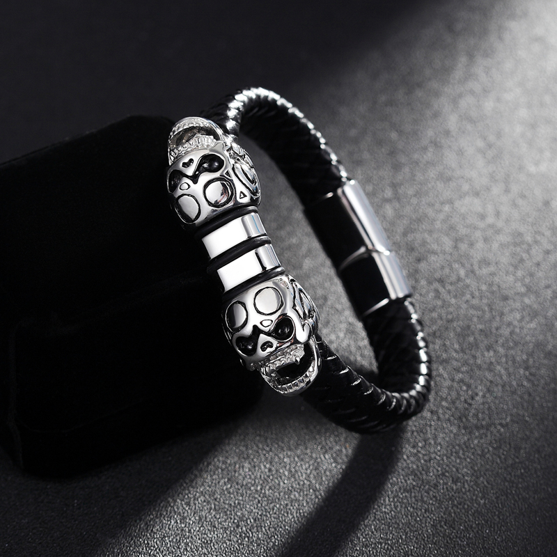 XiongHang Fashion Men Bracelet Stainless Steel Skull Black Braided Rope Leather Chain Bracelets Hyperbole Style Male Jewelry