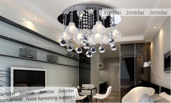 Freeshipping Dining Room Bedroom Ceiling Lamp Modern Simple Warm Flower Crystal Chandeliers 9 Bead