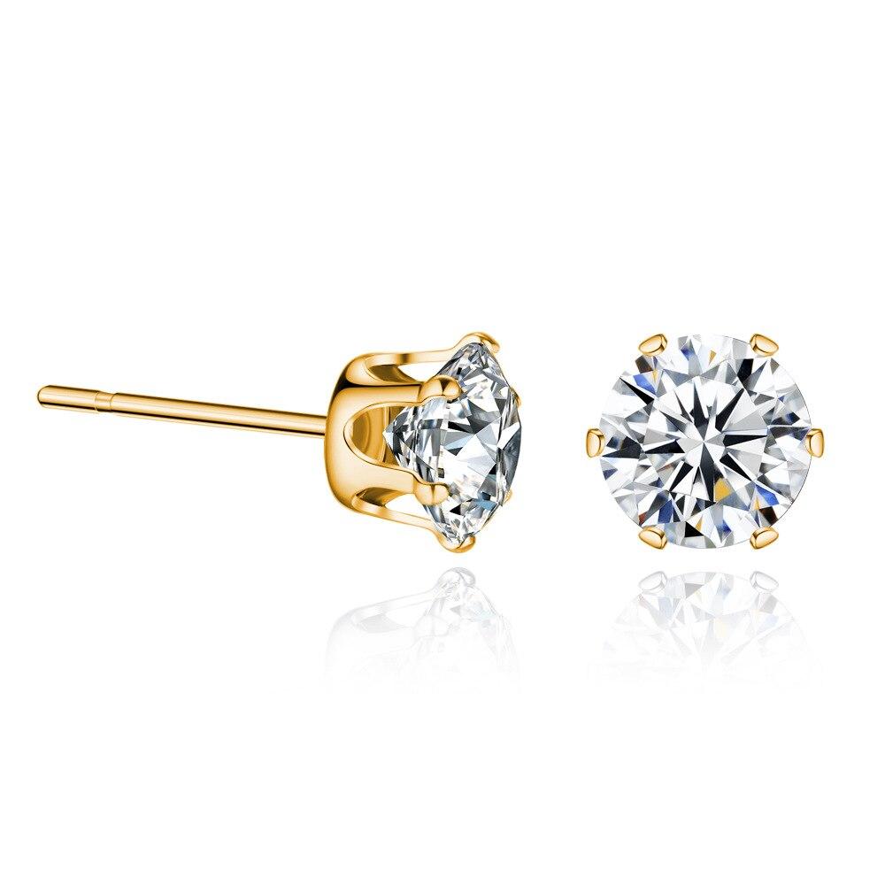 Crystal Gold Sliver Simple Earrings for Women Delicate Ladies Earring OL Ear Stud Jewelry Friendship Gifts