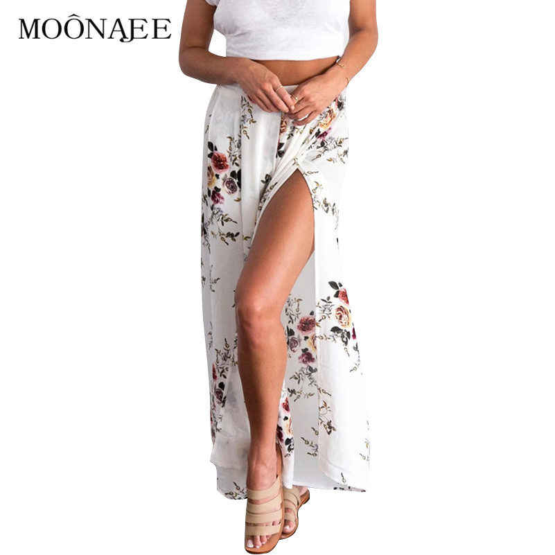2017 New Summer Fashion Side Split Loose Wide Leg Pants Trousers for women Flower Printing Casual Chiffon Long Pants Capris