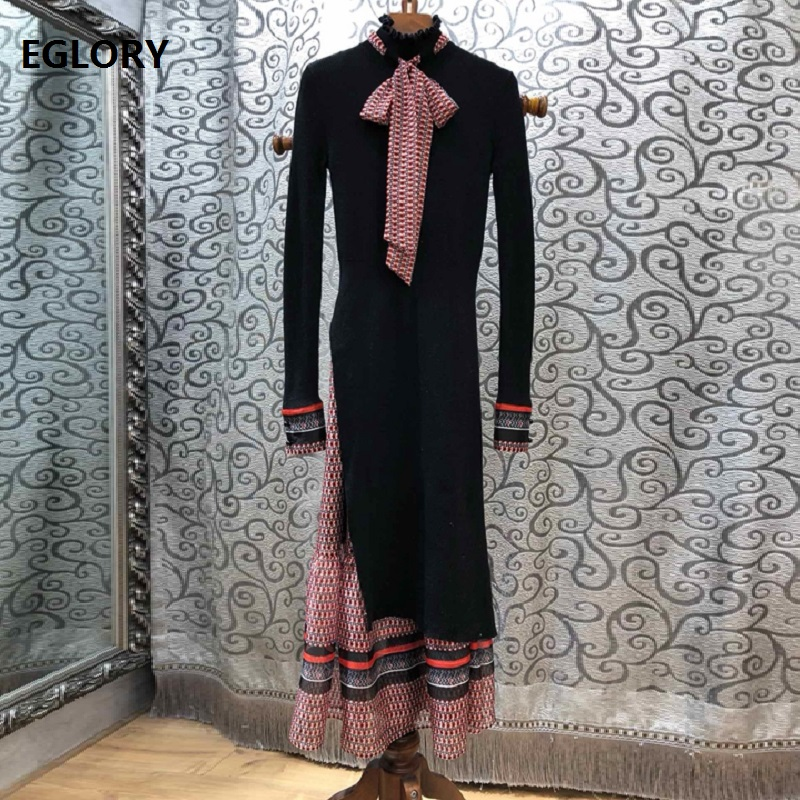 Top Grade Designer Clothing Sets Sweater Suit Women Vintage Print Strap Dress+Bow Collar Long Sweater Dress Set Female Knitwear