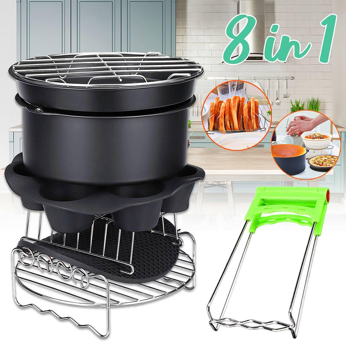 8 pièces 8 ''Air friteuse friture Cage plat cuisson casserole Rack Pizza plateau Pot accessoires adaptés pour 5.2 ~ 5.8QT