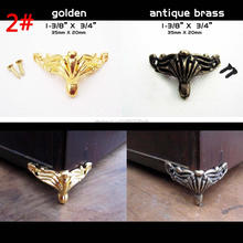 4pcs Antique Brass Golden Silvery Decorative Jewelry Chest furniture Gift Box Wooden Feet Leg Corner Protector Guard With Screw