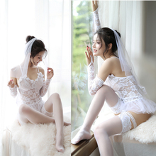 2019 Sexy Lingerie Hot White Bride Wedding Dress Uniforms Perspective Lace Gauze Outfit Erotic Babydoll Costumes