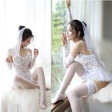 2019 סקסי הלבשה תחתונה חם לבן כלה חתונה שמלת מדים פרספקטיבת תחרה גזה תלבושת ארוטית Babydoll תחפושות