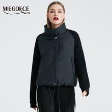 Miegofce 2019 짧은 여성 코트와 얇은면 패딩 자켓 봄 여성 자켓 세련된 칼라 새 봄 컬렉션