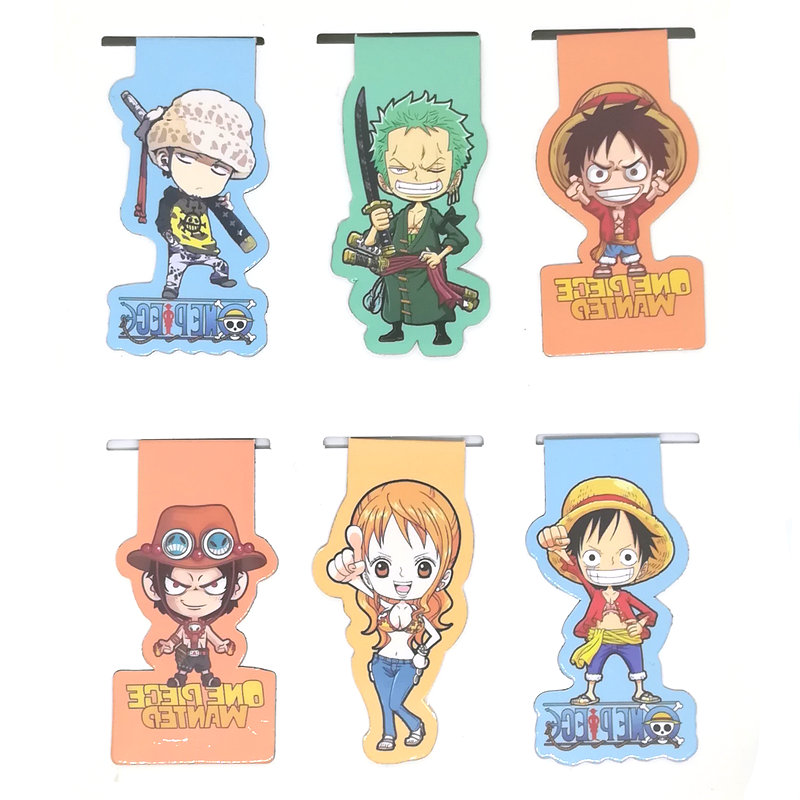 6pcs Anime One Piece Magnetic Bookmark Cartoon Magnet Bookmark Child Student Kawaii Gift Bookmarks Office Stationery