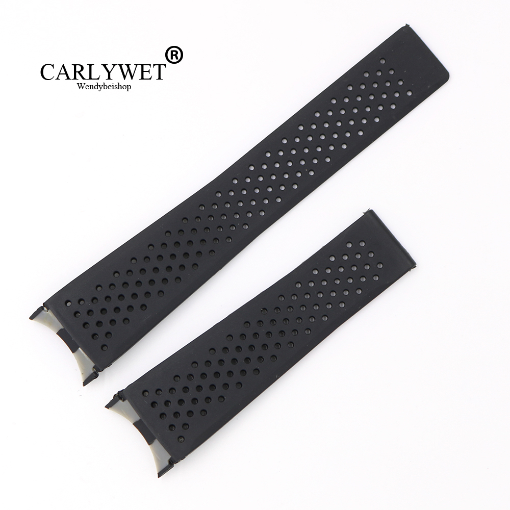 CARLYWET 22mm Black Waterproof Silicone Rubber Replacement Wrist Watch Band Strap Without Buckle For Tag Heuer CARRERA carlywet 24mm hot sell newest camo waterproof silicone rubber replacement wrist watch band strap belt for panerai luminor