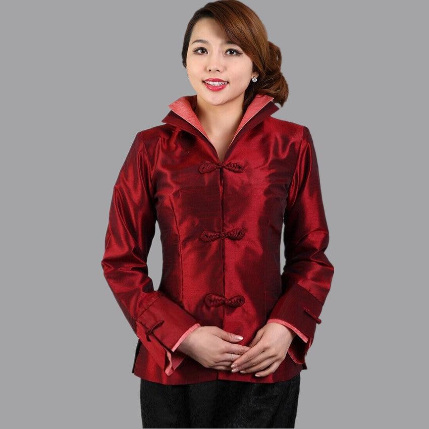 US $30.57 38% OFF Edle Burgund Damen Silk Satin Jacke Mujeres Chaqueta Traditionellen Chinesischen stil Mantel Blumen Größe S M L XL XXL XXXL mny11
