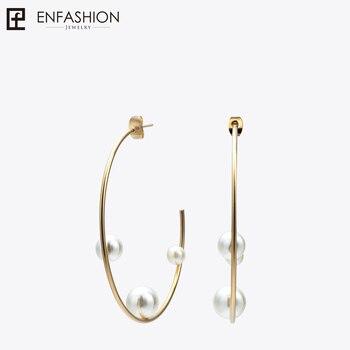 Enfashion Jewelry геометрический Pearl-линия обруч серьги золотой цвет Нержавеющаясталь Круг Серьги для Для женщин серьги EEF1014