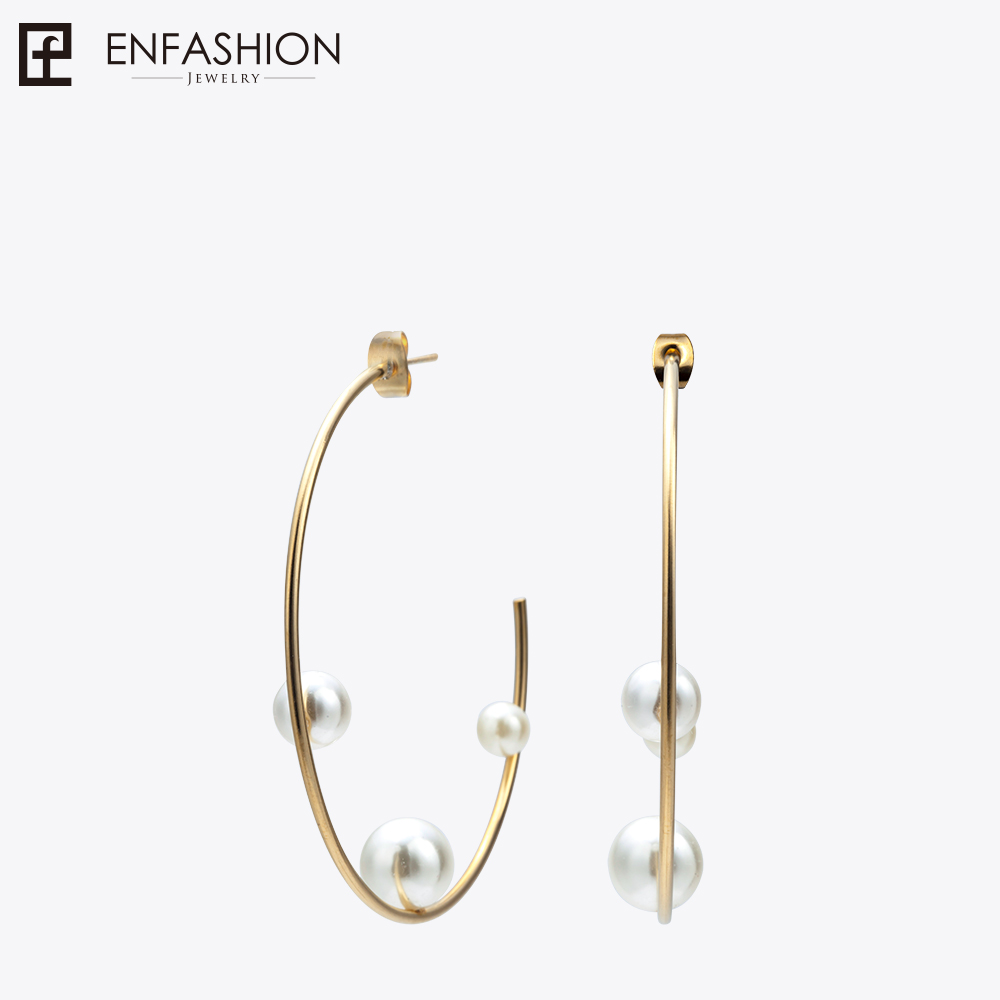 все цены на Enfashion Jewelry Geometric Pearl Line Hoop Earrings Gold color Stainless Steel Circle Earrings For Women Earings EEF1014
