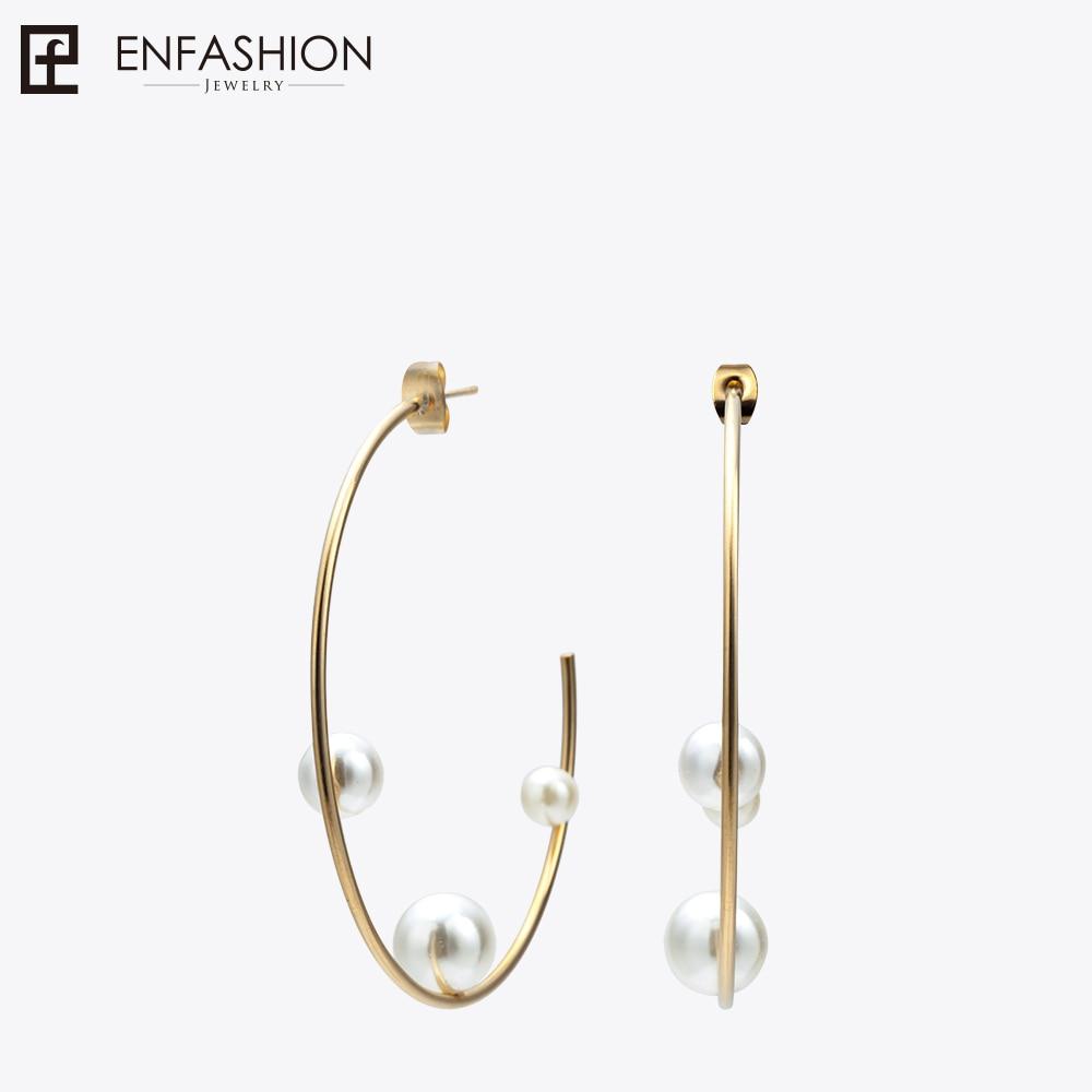 Enfashion Jewelry Geometric Pearl Line Hoop Earrings Gold color Stainless Steel Circle Earrings For Women Earings EEF1014 colorful cubic zirconia hoop earring fashion jewelry for women multi color stone aaa cz circle hoop earrings for party jewelry