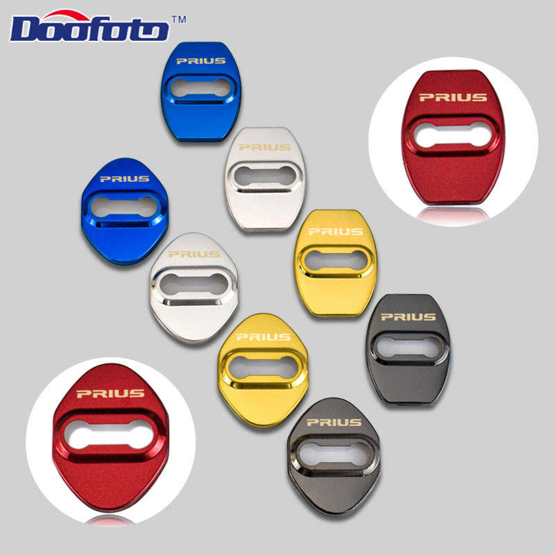 Doofoto Auto Logo Door Lock Sticker Protection Cover Car Styling Case For Toyota Prius Corolla Rav4 Camry Badge Accessories 4pcs