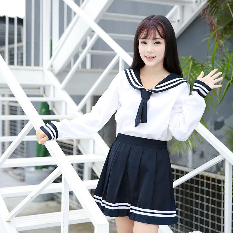 Girls Japanese School Sailor Uniform Long Short Sleeve Classic Navy Sailor School Uniforms High School Outfit Suit U015
