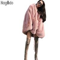 Nagodo зима искусственный мех пальто 2018 кроличий мех пальто s женский розовый мех Меховая куртка повседневная Толстая теплая свободная мехова