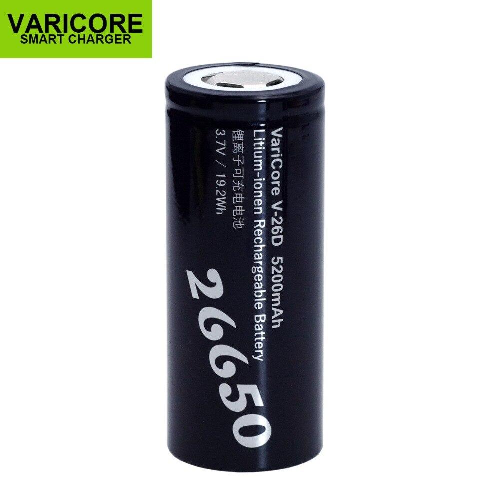 1-10 piezas VariCore 26650 Li-ion 3,7 V 5200mA V-26D descargador 20A batería linterna herramientas electrónicas batería