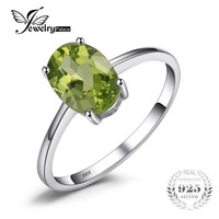 Genuine 925 Sterling Silver 1 4ct Natural Peridot Solitaire Rings For Women Love Gift Classic Oval