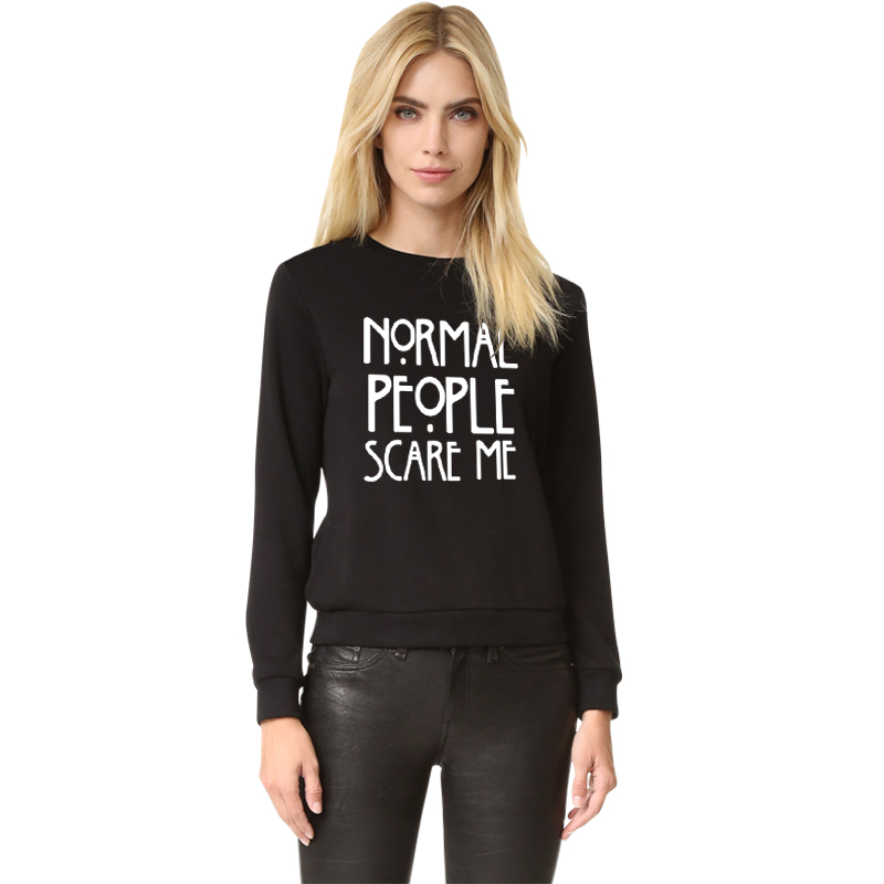 YEMUSEED H1026 NORMAL PEOPLE SCARE ME 2016 New Letters Print Funny Harajuku Tracksuit For Women Sweatshirt Hoodies 8