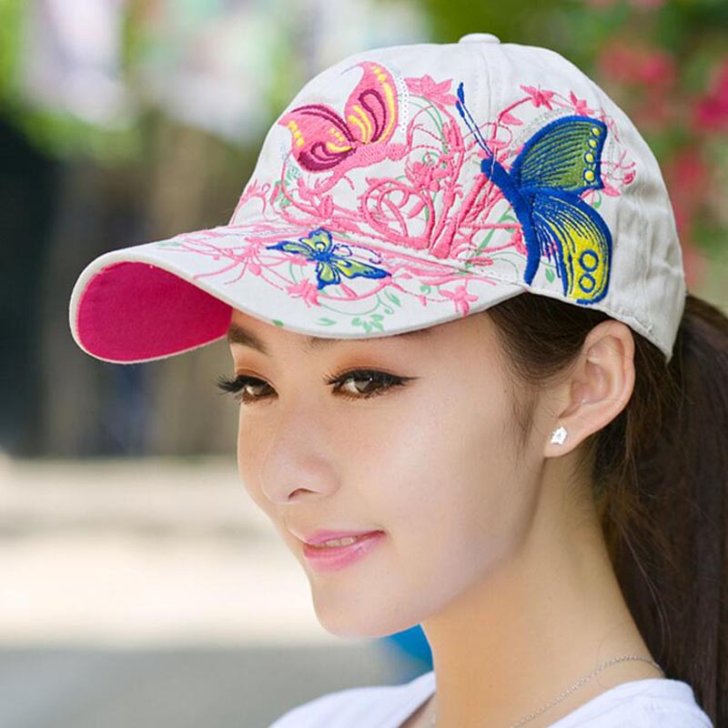 2017Summer Adjustable Snapbacks Baseball Caps Women Lady Flowers Butterfly Embroidered Hat Wholesale
