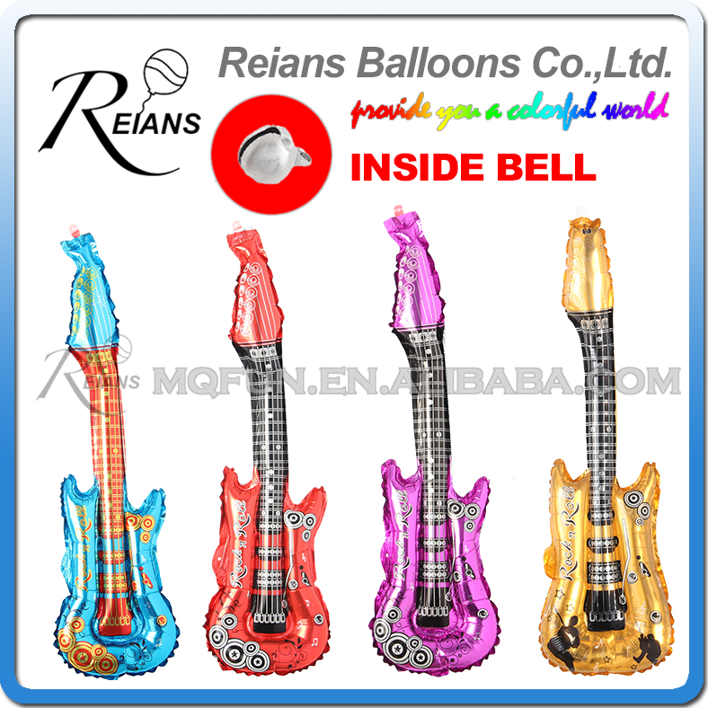 Rock Guitar Balloon Toy For Kids Birthday Gift Inflatable Flame Guitar Decoration Cartoon Inflatable Blow Up 4 Colors 85x30cm Home & Garden Ballons & Accessories