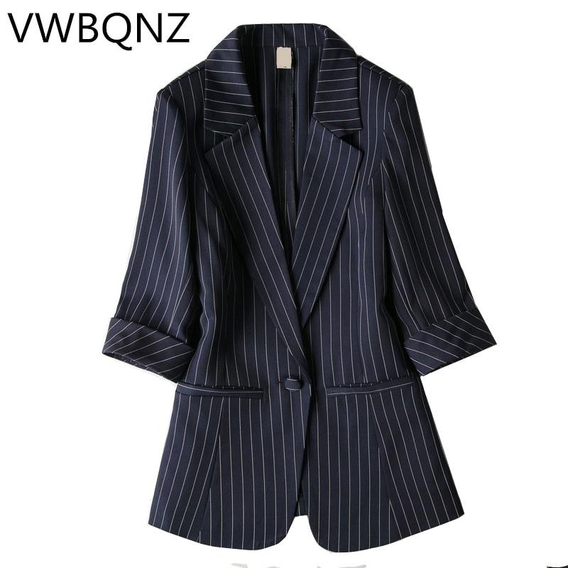 Single Buckle Striped Women Blazer Spring Seven-quarter Sleeve Jackets Female Suits Coat Slim Work Feminino Outerwear Plus Size