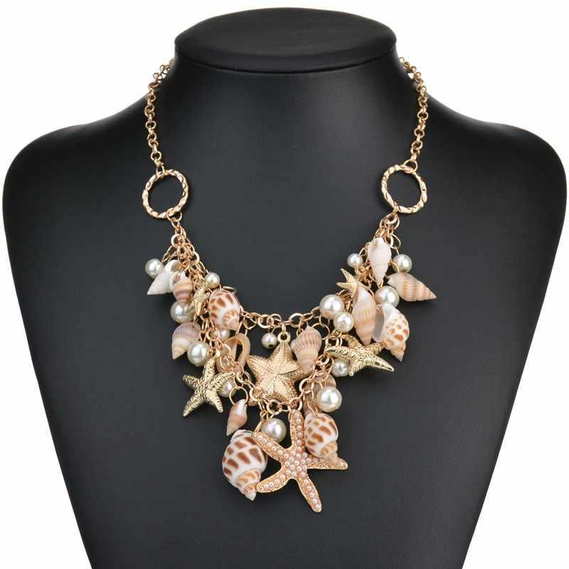 Bohemian Bãi Biển Mùa Hè Vòng Cổ Nữ Sao Biển Vỏ Mặt Dây Chuyền Nacklace & Vòng Tay Trang Sức nữ