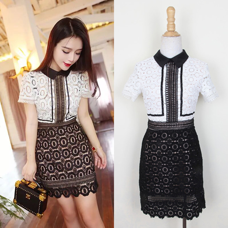 Black And White Bandage Dress Turn-down Collar Short Sleeved Patchwork Hollow  Out Lace Dress 45e7e4f25a2f