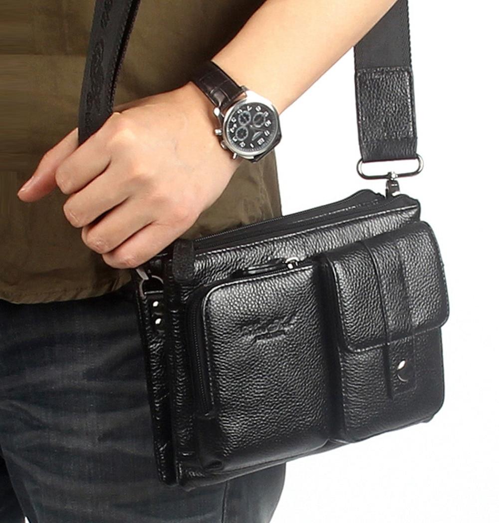 Mannen Eerste Laag Koeienhuid Huid Lederen Messenge Schouder Cross Body Bag Taille Heuptasje Hip Bum Mannelijke Clutch Tote Hand tas