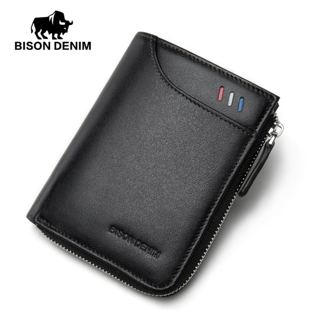 BISON DENIM fashion men wallets genuine leather male zipper card holder purse brand