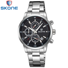2017 Skone Brand New Arrival Luxury Men Military Casual Sports Quartz Watch Full Stainless Wristwatches Chronograph Waterproof