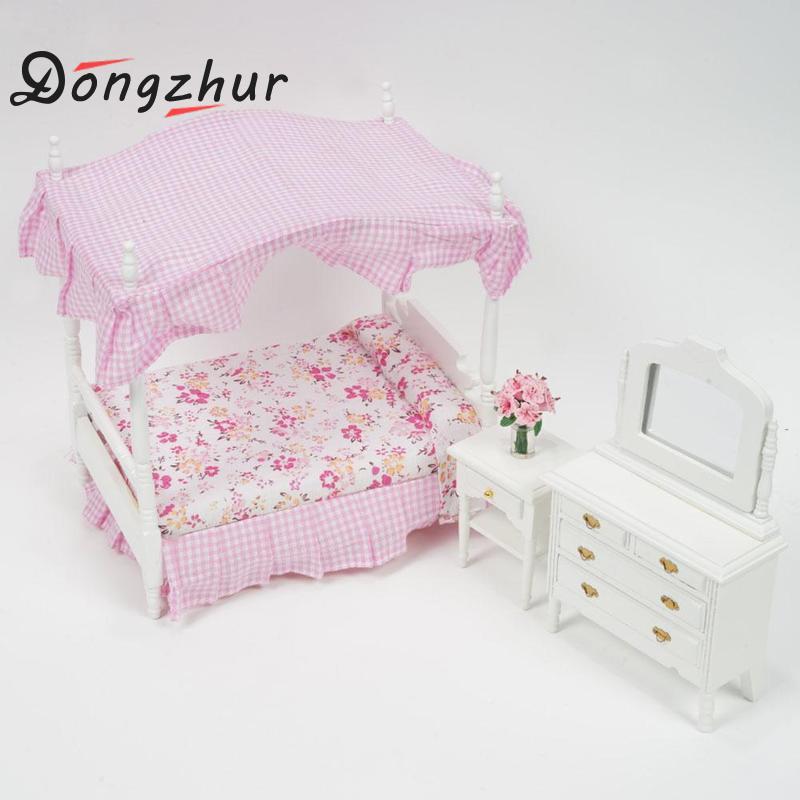 DIY Dollhouse Miniatura Pink Bed Dresser Chair Princess Bedroom Furniture Sets Poppenhuis Miniaturen 1:12 Dollhouse WoodenDIY Dollhouse Miniatura Pink Bed Dresser Chair Princess Bedroom Furniture Sets Poppenhuis Miniaturen 1:12 Dollhouse Wooden