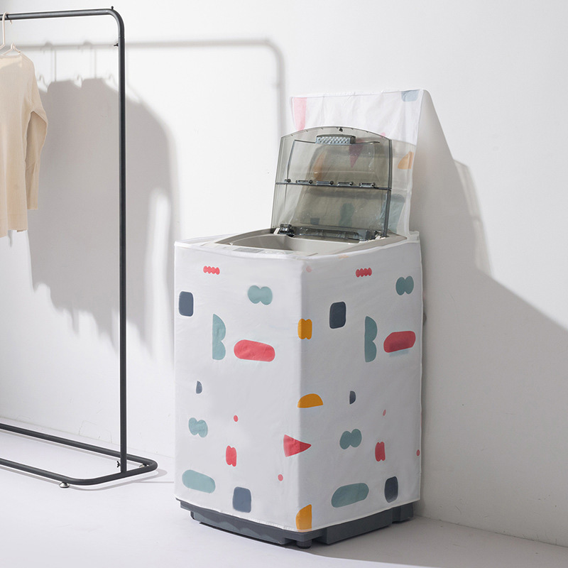 PEVA Washing Machine Dust Cover Roller Flip Washing Machine Cover Floral Geometric Washing Machine Dust Cover Yi Yue