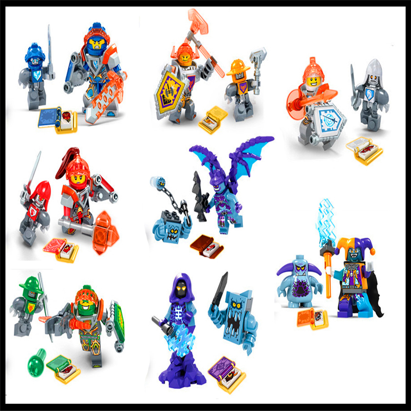 8Pcs Nexus Knights Clay Jestro Macy Axl Building Block Dargo 928 Construction Figure Toys Gift For Children Compatible Legoe 1 pcs knights building block minifigures axl clay macy lance aaron jestro figures kids gift compatible nexus legoelieds dg884