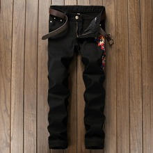 European and American tide brand Personalized embroidery magpie pattern jaens Fashion casual straight quality Black jeans men
