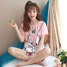 New Women Cotton Cartoon rabbit Print Pajamas Sets Cute pyjama Short Sleeve Sleepwear Casual Nightwear Homewear Nightgown Summer
