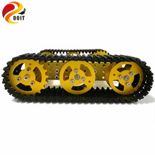DOIT RC Metal Robot Tank Chassis mini T100 Crawler Caterpiller Tracked Vehicle with Plastic Track 2 Motors for Robot Platform RC
