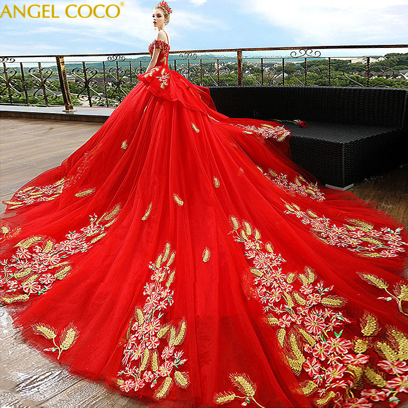 Luxury Red Pregnancy Maternity Wedding Dresses Flower Court Great Gatsby Gown Gorgeous Robe De Mariee Bride Married Long Tailing