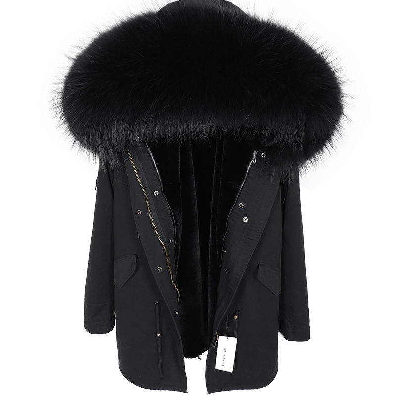 Winter Jacket Women 2019 Real Fur Coat Long Parka Natural Raccoon Fur Collar Outerwear Black Streetwear 3 In 1 New Fashion Brand