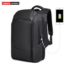 MAGIC UNION Business Style Backpack for Men 17 inch Bagpack Large Travel Bags Fashion Mochila Hombre Women USB Laptop Backpacks цена 2017