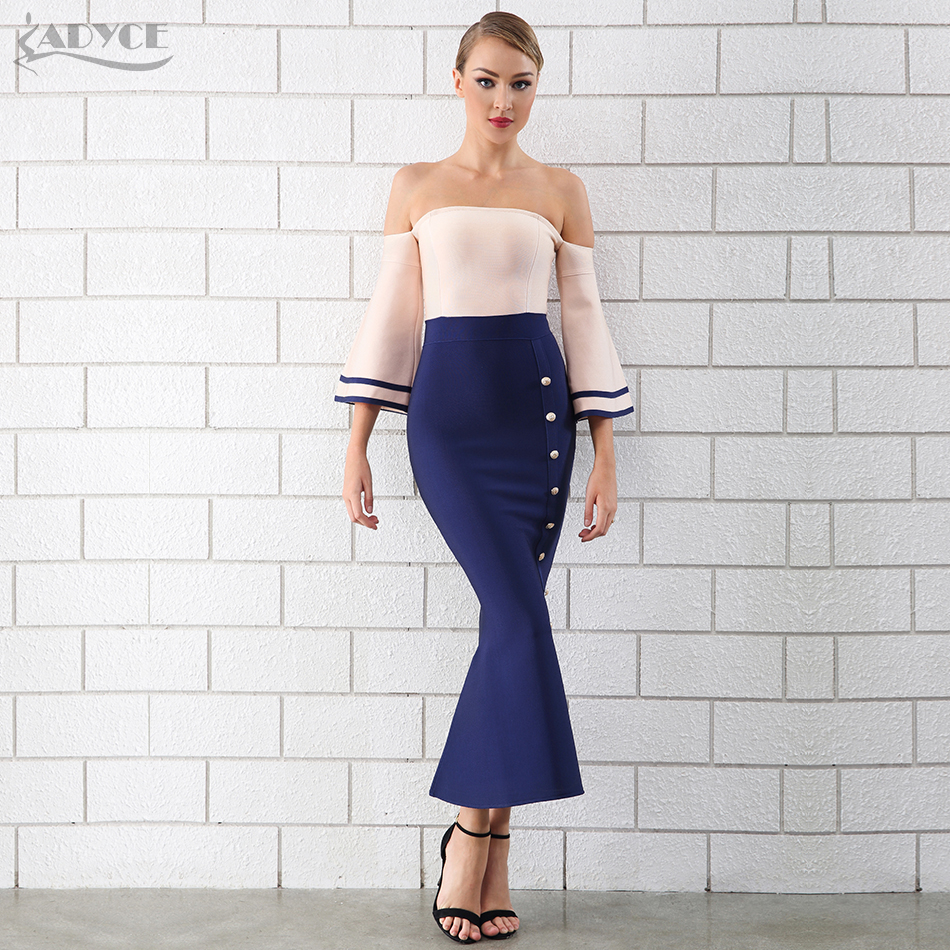 Adyce 2018 New Style Women Bandage Dress Strapless Button Studded Sexy Mermaid Maxi Dress Vestidos Celebrity Party Dresses