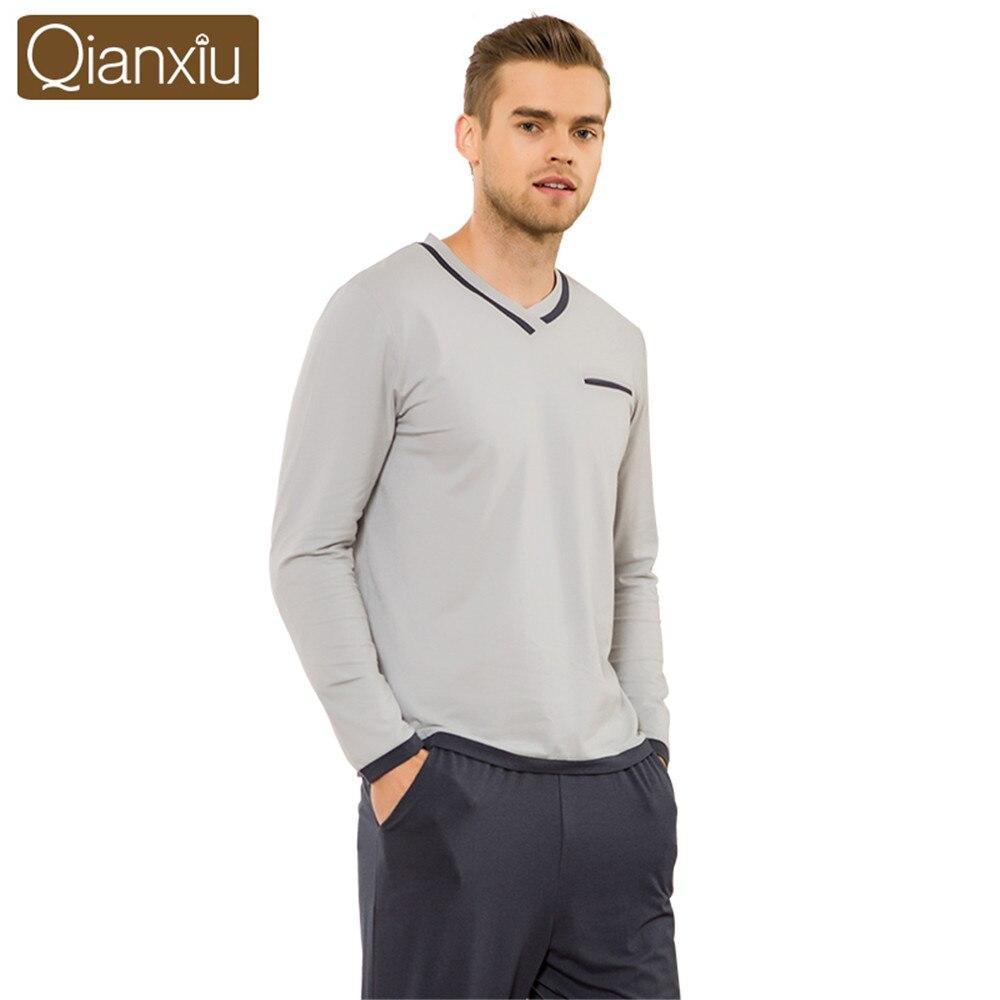 Qianxiu 2018 High-end Brand Men's Pajamas Spring Long Sleeve V-neck Pyjamas Set Male Leisure Home Wear Sleepwear Set Loungewear